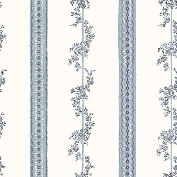 Picture of Drottningholm Periwinkle Floral Stripe Wallpaper