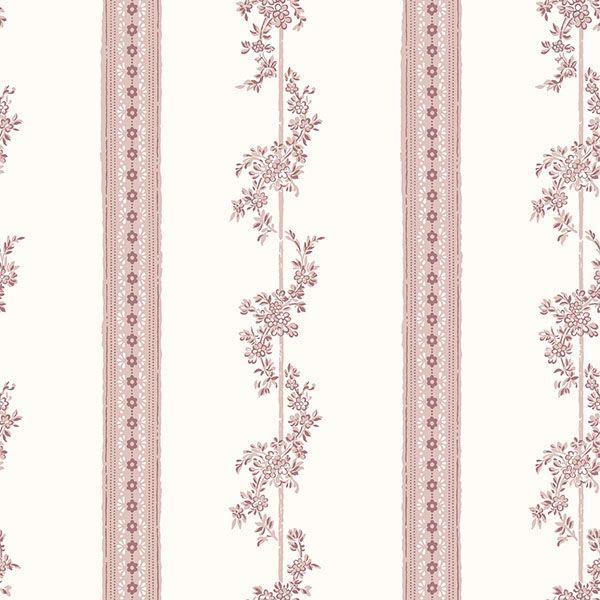 Picture of Drottningholm Rose Floral Stripe Wallpaper