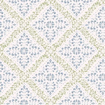 Picture of Nyborg Blue Ornamental Geometric Wallpaper