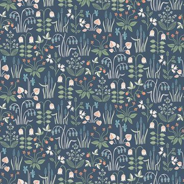 Picture of Strawberry Field Navy Garden Wallpaper