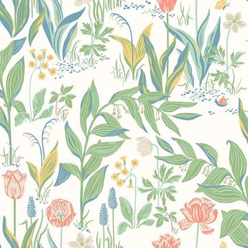 Picture of Spring Garden Off-White Botanical Wallpaper