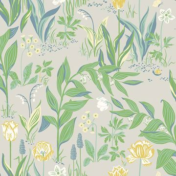 Picture of Spring Garden Green Botanical Wallpaper