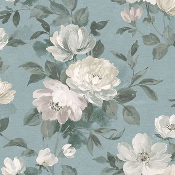 Picture of Peony Slate Floral Wallpaper
