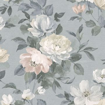 Picture of Peony Grey Floral Wallpaper