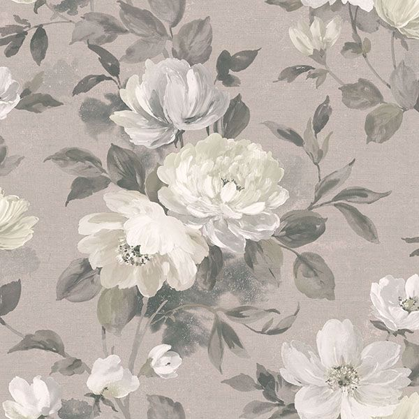 Picture of Peony Light Grey Floral Wallpaper