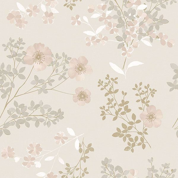 Picture of Prairie Rose Blush Floral Wallpaper