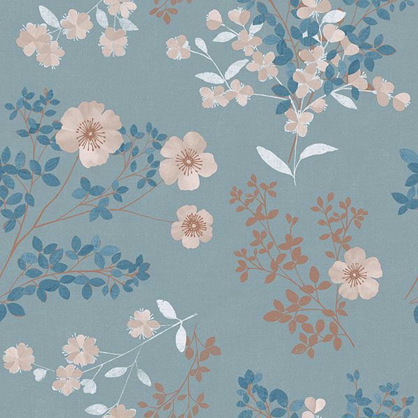 Picture of Prairie Rose Teal Floral Wallpaper