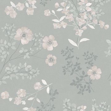 Picture of Prairie Rose Taupe Floral Wallpaper