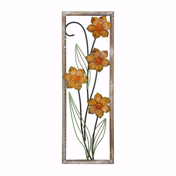 Jax Orange Floral Metal Wall Art