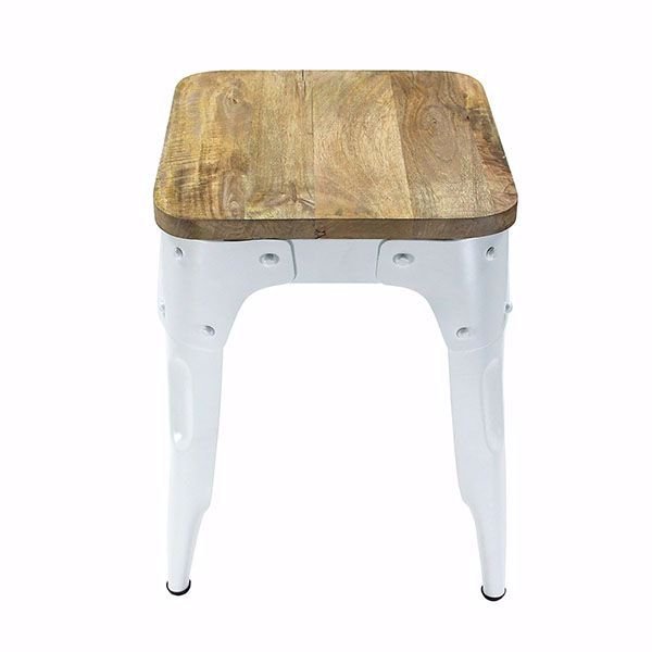 Fabulous Guild White Metal Stool Creativecarmelina Interior Chair Design Creativecarmelinacom