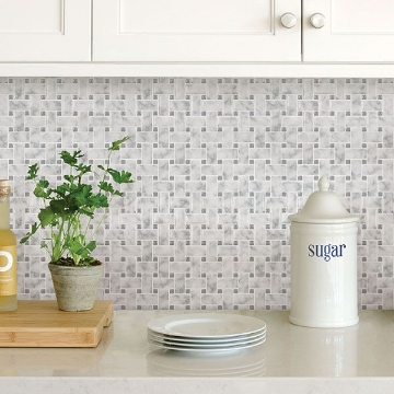 Picture of Basketweave Carrara Peel & Stick Backsplash