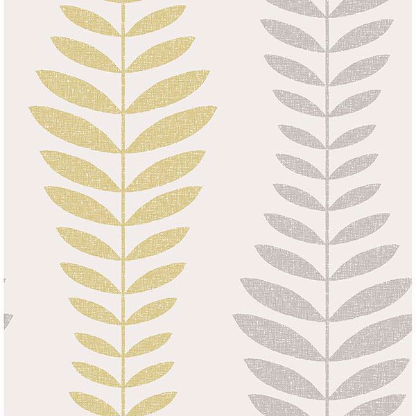 Picture of Sandnes Mustard Leaf Stripe Wallpaper