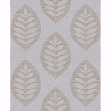Picture of Harstad Grey Leaf Wallpaper
