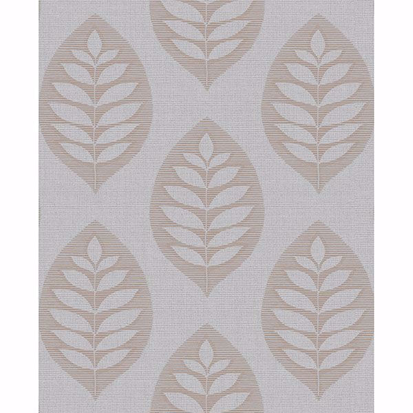 Picture of Harstad Grey Leaf Wallpaper