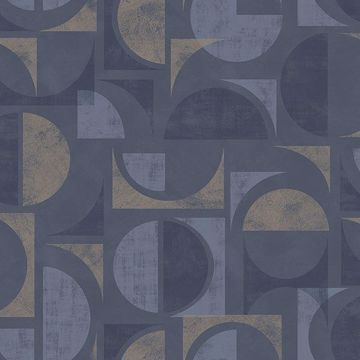 Picture of Hamar Navy Geometric Wallpaper