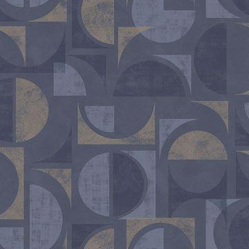Picture of Hamar Navy Geometric Wallpaper