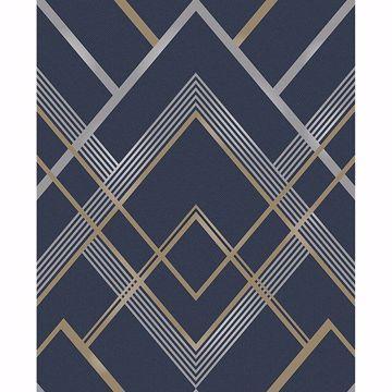 Picture of Bradford Navy Geometric Wallpaper