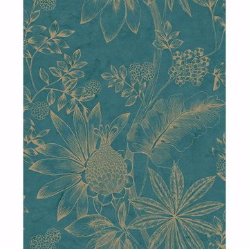 Picture of Kenitra Teal Botanical Wallpaper