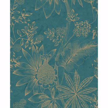 Picture of Kenitra Teal Botanical Wallpaper