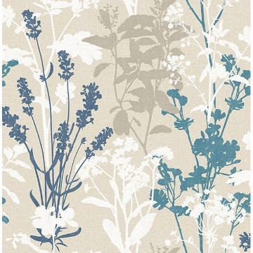 Picture of Conant Teal Wild Flowers Wallpaper