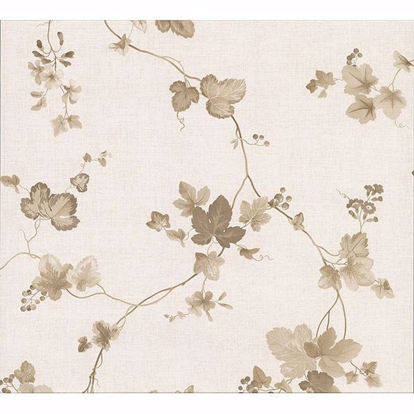 Picture of Symon Light Brown Leaf Trail Wallpaper