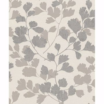 Picture of Ripert Silver Leaf Silhouette Wallpaper