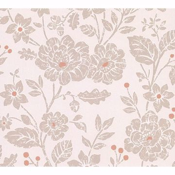 Picture of Bourdain Light Brown Floral Wallpaper
