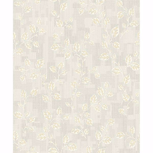 Picture of Child Grey Leaf Patchwork Wallpaper