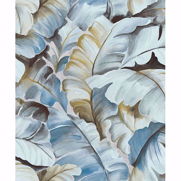 Picture of Ramsay Blue Banana Leaf Wallpaper