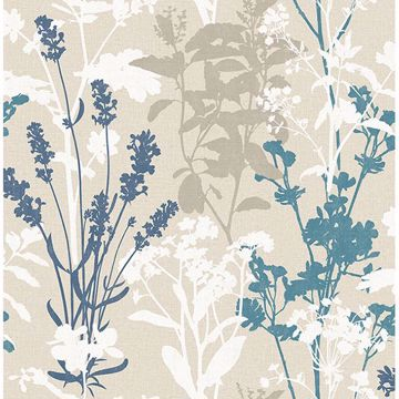 Picture of Pippin Blue Wild Flowers Wallpaper