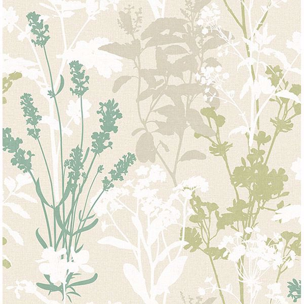 Picture of Pippin Green Wild Flowers Wallpaper