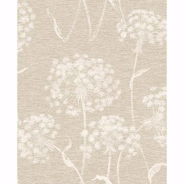 Picture of Garvey Taupe Dandelion Wallpaper