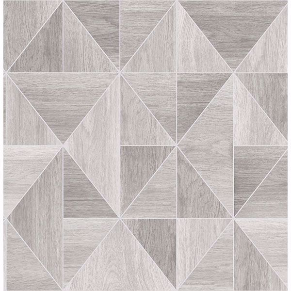 Picture of Simpson Light Grey Geometric Wood Wallpaper
