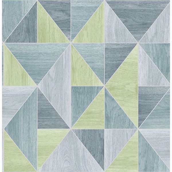 Picture of Simpson Blue Geometric Wood Wallpaper