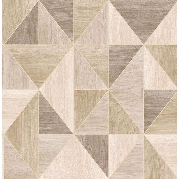 Picture of Simpson Light Brown Geometric Wood Wallpaper