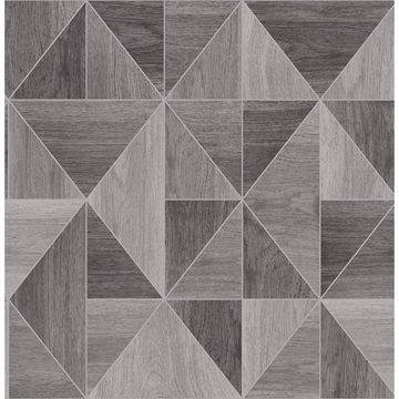 Picture of Simpson Grey Geometric Wood Wallpaper