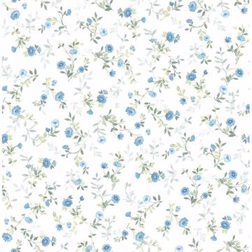 Picture of Catlett Blue Floral Toss Wallpaper