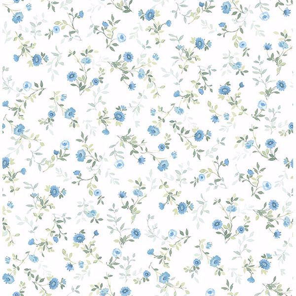 Picture of Catlett Blue Floral Toss Wallpaper
