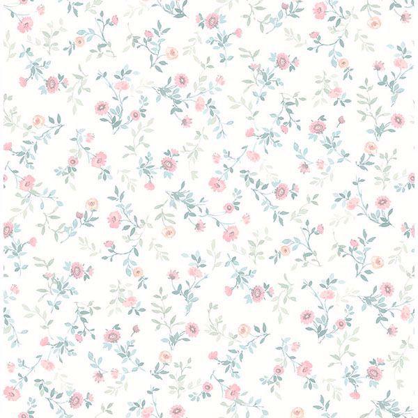 Picture of Catlett Light Pink Floral Toss Wallpaper