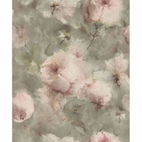 Picture of Innocent Light Brown Watercolor Floral Wallpaper
