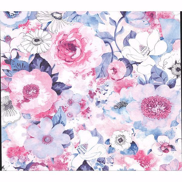 Picture of Baldwin Purple Watercolor Floral Wallpaper