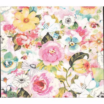 Picture of Baldwin Multicolor Watercolor Floral Wallpaper