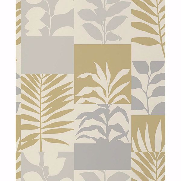 Picture of Hammons Gold Block Botanical Wallpaper