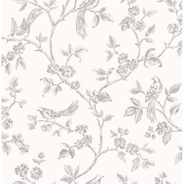 Picture of Ophelia Grey Bird Trail Wallpaper