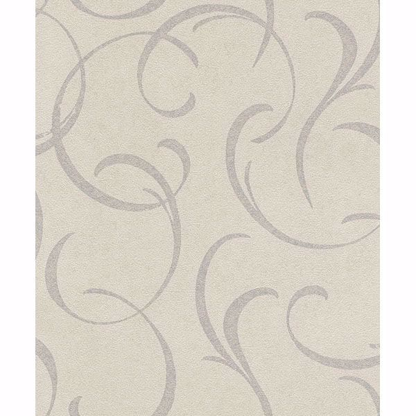 Picture of Lysander Silver Scrolls Wallpaper