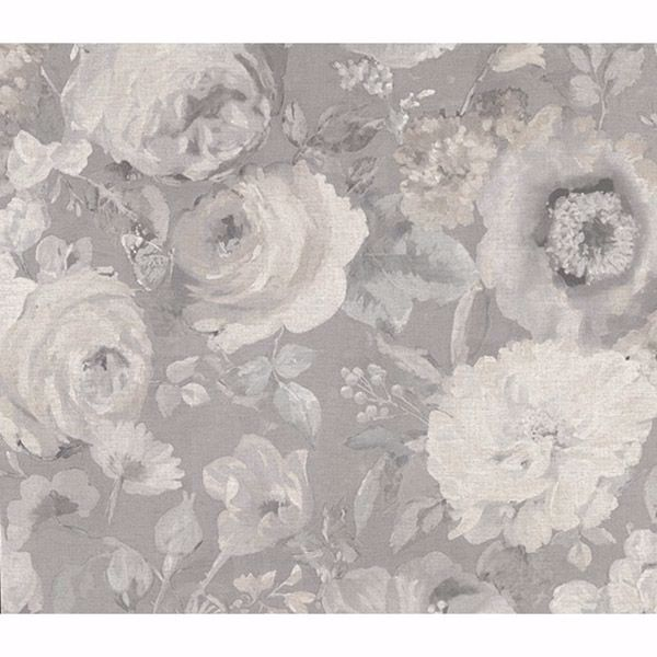 Picture of Miranda Grey Painted Florals Wallpaper