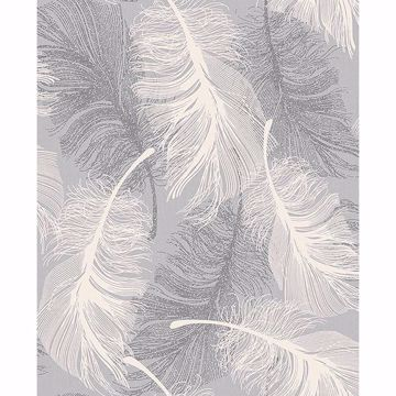 Picture of Alonso Grey Plume Wallpaper