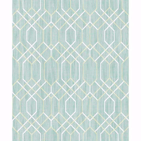 Picture of Lyla Teal Trellis Wallpaper