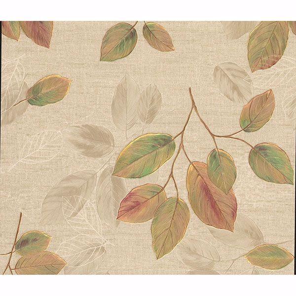 Picture of Dorado Green Leaf Toss Wallpaper