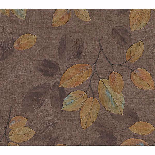 Picture of Dorado Brown Leaf Toss Wallpaper